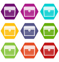 Chest icon set color hexahedron vector