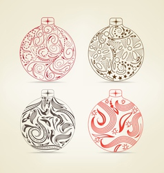 Set of christmas balls floral for design vector