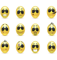 Set inspirational bearded emoticons vector