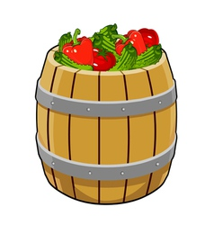 Barrel with cucumbers tomatoes peppers vector