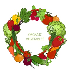 Wreath from fresh raw vegetables vector