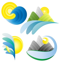 Sun sea mountains summer holidays logos vector