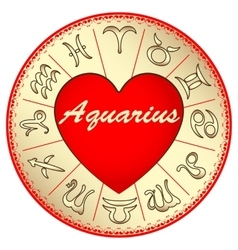Zodiac sign aquarius for lovers on valentine vector