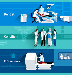 Medical specialists 3 horizontal banners set vector