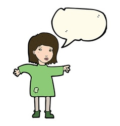 Cartoon woman in patched clothing with speech vector