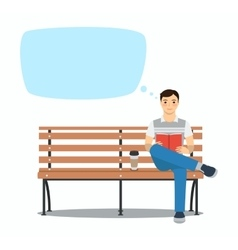 Young man reading book on bench vector