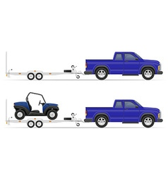 Car pickup with trailer 02 vector
