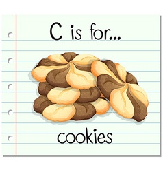 Flashcard alphabet c is for cookies vector