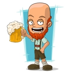 Cartoon bald bavarian with beer vector