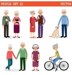 Set of the old people vector