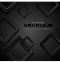 Abstract geometric black background with squares vector