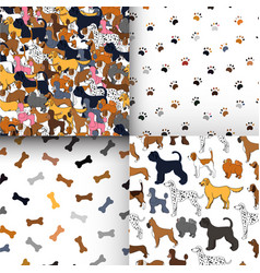 Awesome set of seamless patterns with cartoon vector