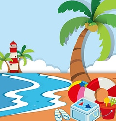 Beach scene with lighthouse and toys vector