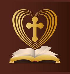 Bible heart cross religion wedding vector