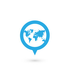 Blue map pointer with world map silhouette icon vector