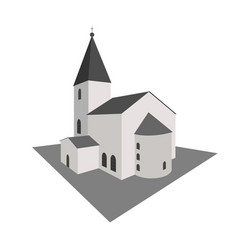 building white church in perspective vector image vector image