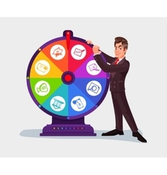 Business man spinning the wheel of fortune vector