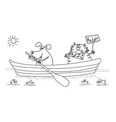 Dog and cat in the boat black-white drawing vector