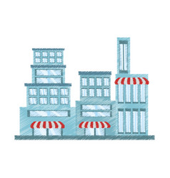 drawing building store market vector image