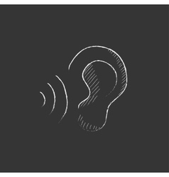 Ear and sound waves Drawn in chalk icon vector image vector image