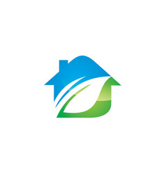 eco house nature logo vector image vector image