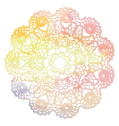 Elegant lacy watercolor doily crochet mandala vector