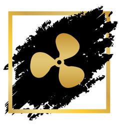 Fan sign golden icon at black spot inside vector
