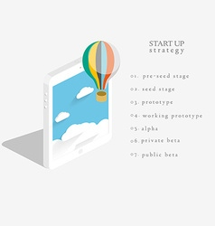 Flat 3d isometric design of the startup process vector image vector image
