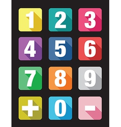 flat number signs vector image vector image