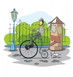 gentleman drive a retro bicycle vector image vector image