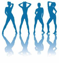 girls silhouettes vector image vector image