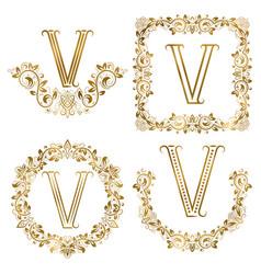 golden v letter ornamental monograms set heraldic vector image vector image