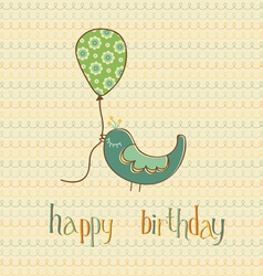 greeting birthday card with cute bird holding ball vector image