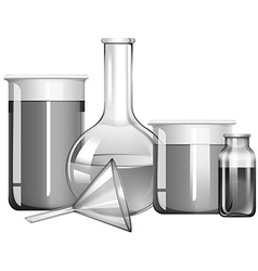 Greyscale science glasses with liquid substances vector