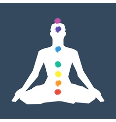 Human silhouette in yoga pose with chakras vector image