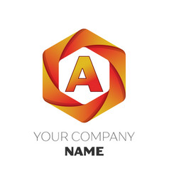 Letter a logo symbol on colorful hexagonal vector