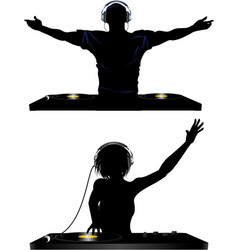 Male and female DJ and record decks vector image