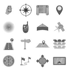 Navigation icons set black monochrome style vector image