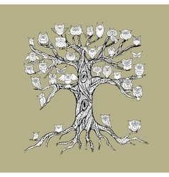 Old tree with owls for your design vector