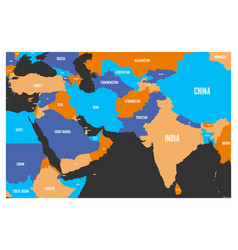Political map of south asia and middle east vector
