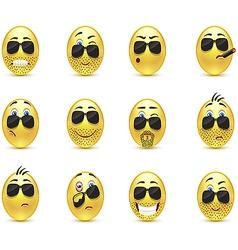 Set inspirational bearded emoticons vector
