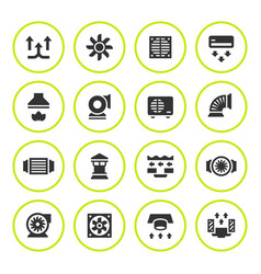 Set round icons of ventilation and conditioning vector