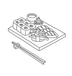 sushi set line vector image