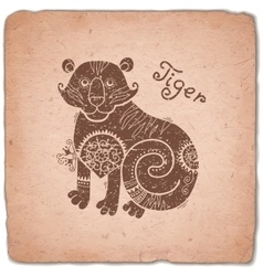 Tiger chinese zodiac sign horoscope vintage card vector