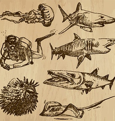 Underwater Sea Life set no2 - hand drawn vector image