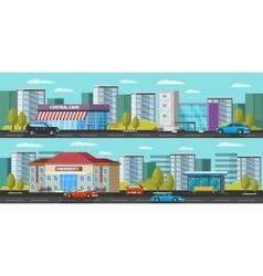 Urban landscape horizontal banners vector