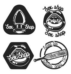Vintage sex shop emblems vector