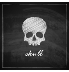 Vintage with a skull on blackboard background vector