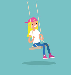 young blond girl sitting on the swing editable vector image vector image