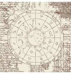 Zodiac with the sun vector